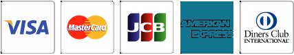 Visa、MasterCard、JCB、アメリカン・エキスプレス 、ダイナースクラブ